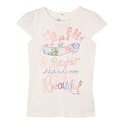 Mantaray - Girl's off white 'Smiles and laughter' t-shirt