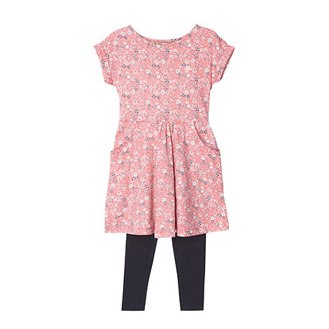 Mantaray - Girl's pink floral tunic and leggings set