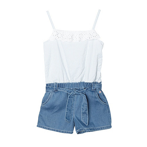 Mantaray - Girl+s blue chambray broderie trim playsuit