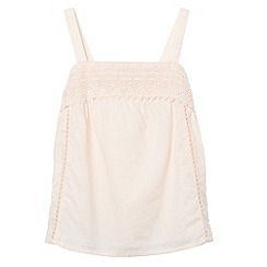 Mantaray - Girl's pale pink crochet trim vest