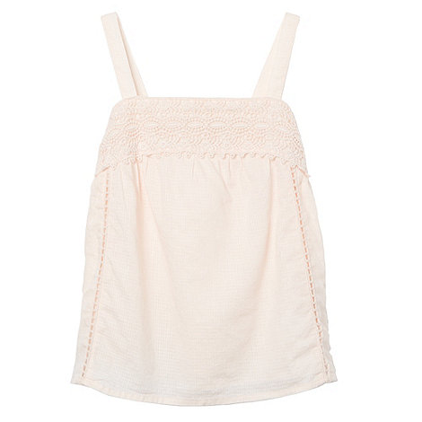 Mantaray - Girl+s pale pink crochet trim vest