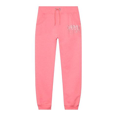 Pineapple - Girl+s pink diamante logo jogging bottoms