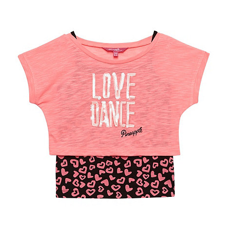 Pineapple - Girl+s bright pink +Love Dance+ crop top and vest