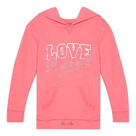 Pineapple - Girl+s pink diamante logo hoodie