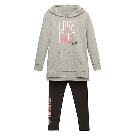 Pineapple - Girl+s grey sequin logo hoodie and leggings set