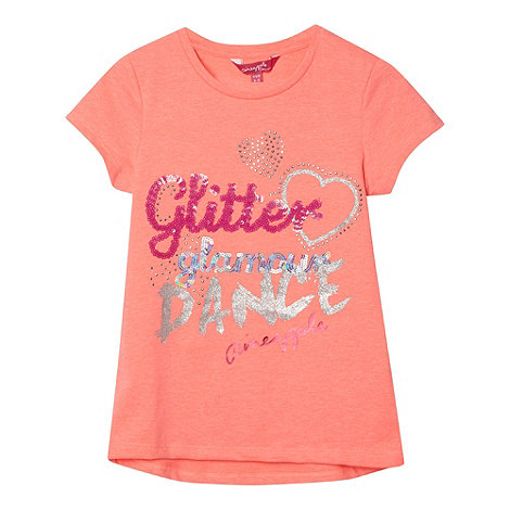 Pineapple - Girl+s coral +Glitter+ embellished t-shirt