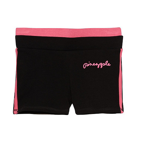 Pineapple - Girl+s black contrast waistband shorts