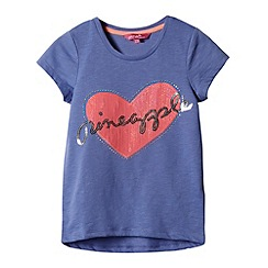 Pineapple - Girl's blue sequinned heart t-shirt