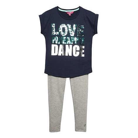 Pineapple - Girl+s navy animal +Love Dance+ t-shirt and leggings set