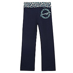 Pineapple - Girl's navy animal print jogging bottoms