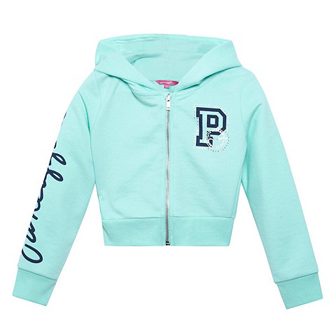 Pineapple - Girl+s aqua cropped zip through hoodie