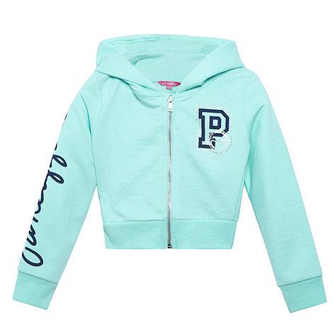 Pineapple - Girl+s aqua cropped zip through hoodie