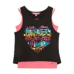 Pineapple - Girl's black two piece layered slogan vests