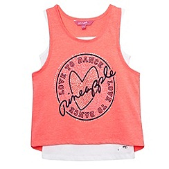 Pineapple - Girl's bright coral layered logo print vest