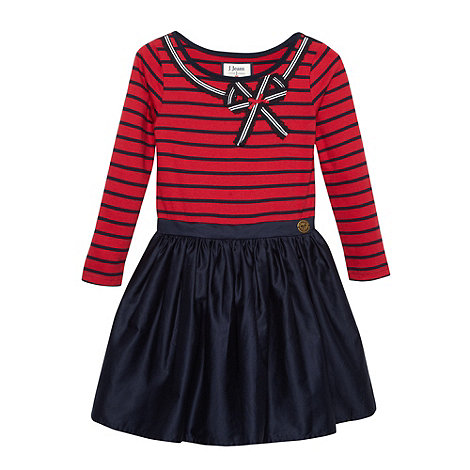 J by Jasper Conran - Designer girl's navy striped bow dress