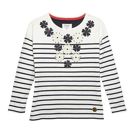 J by Jasper Conran - Designer girl+s white striped applique top