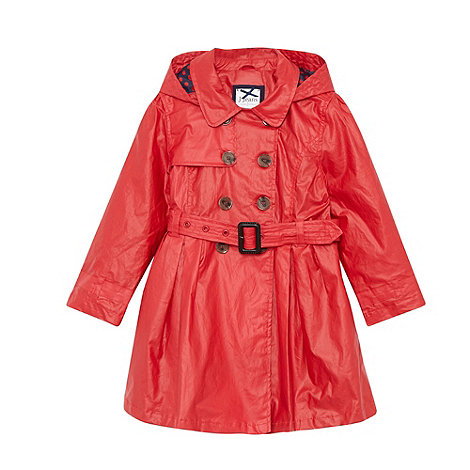 J by Jasper Conran - Designer girl+s red hooded mac coat
