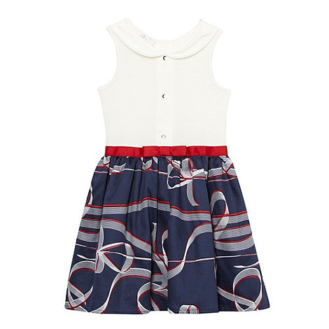 J by Jasper Conran - Designer girl+s navy ribbon trim jersey dress