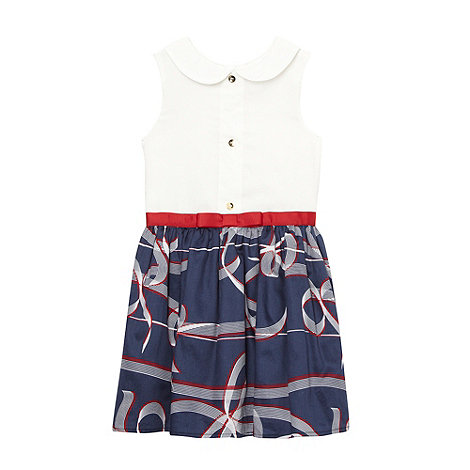 J by Jasper Conran - Designer girl+s navy ribbon trim satin dress
