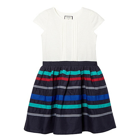 J by Jasper Conran - Designer girl+s navy ribbon overlay dress