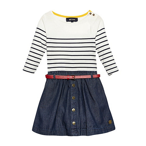 J by Jasper Conran - Designer girl+s off white striped denim skirt dress