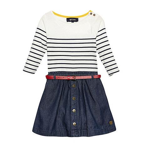 J by Jasper Conran - Designer girl+s off white striped denim skirt dress