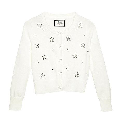 J by Jasper Conran - Designer girl+s ivory embellished flower cardigan