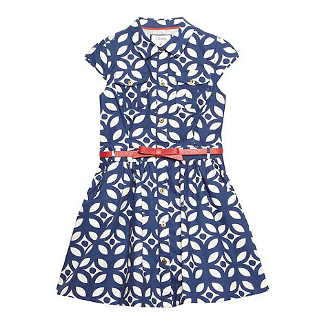 J by Jasper Conran - Designer girl+s navy geometric leaf shirt dress