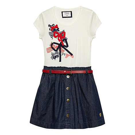 J by Jasper Conran - Designer girl+s off white bow t-shirt dress