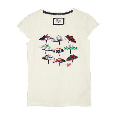 J by Jasper Conran - Designer girl's off white parasols t-shirt
