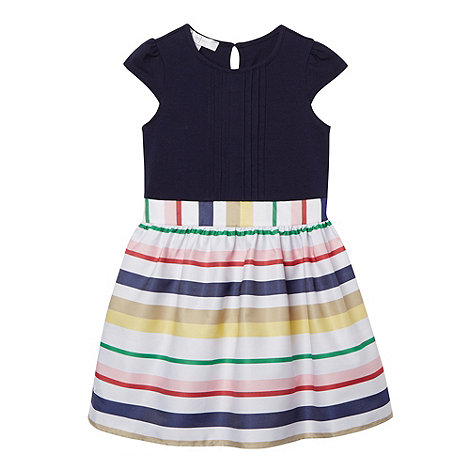 J by Jasper Conran - Designer girl+s navy striped 2-in-1 dress