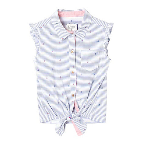 J by Jasper Conran - Designer girl's blue anchor striped blouse