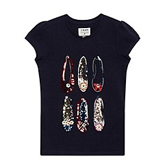 J by Jasper Conran - Designer girl's navy embellished shoe t-shirt