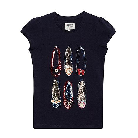 J by Jasper Conran - Designer girl+s navy embellished shoe t-shirt