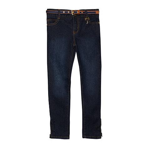 J by Jasper Conran - Designer girl+s blue skinny belted jeans