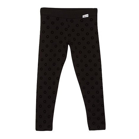 Donna & Markus by Markus Lupfer - Designer girl+s black flocked flower leggings