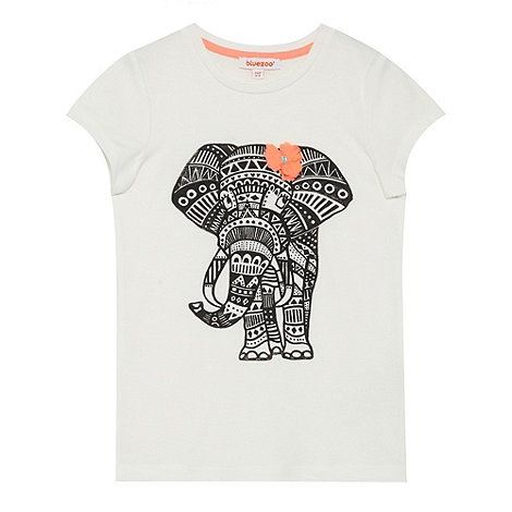 bluezoo - Girl+s off white elephant t-shirt