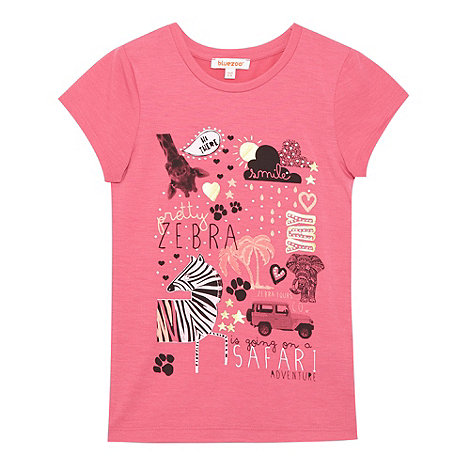 bluezoo - Girl+s pink +Safari+ print t-shirt