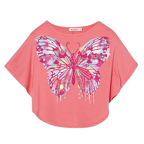 bluezoo - Girl's pink butterfly print cape t-shirt