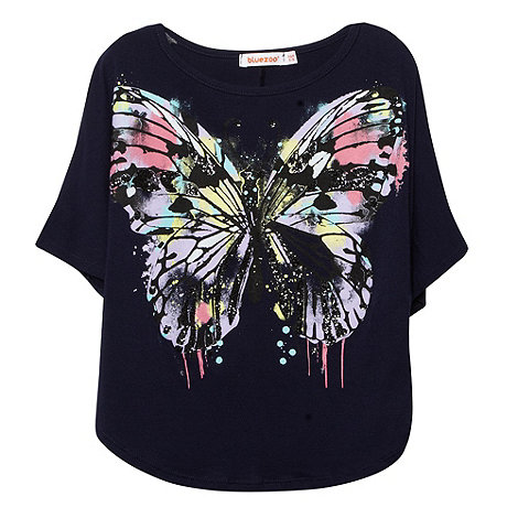bluezoo - Girl+s navy butterfly print cape t-shirt
