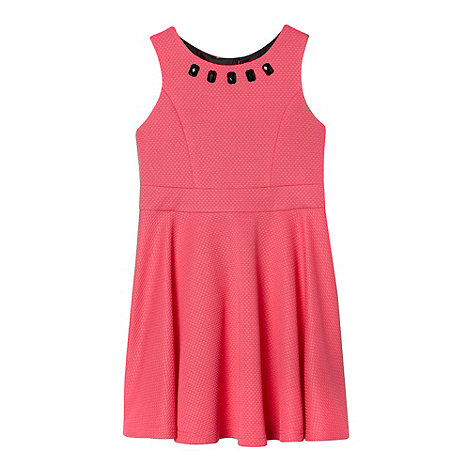 bluezoo - Girl+s pink textured embellished skater dress
