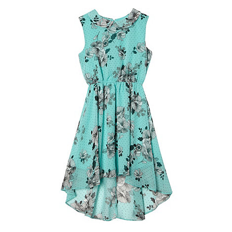 bluezoo - Girl+s turquoise chiffon floral dress