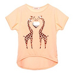 bluezoo - Girl's bright coral giraffe print t-shirt