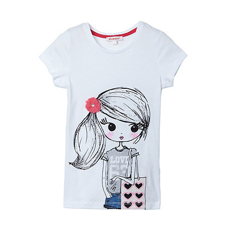 bluezoo - Girl+s white girl printed t-shirt