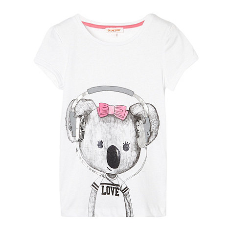 bluezoo - Girl+s white koala printed t-shirt