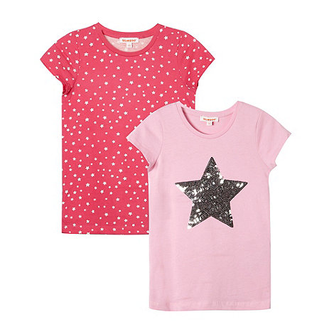 bluezoo - Pack of two girl+s pink star t-shirts