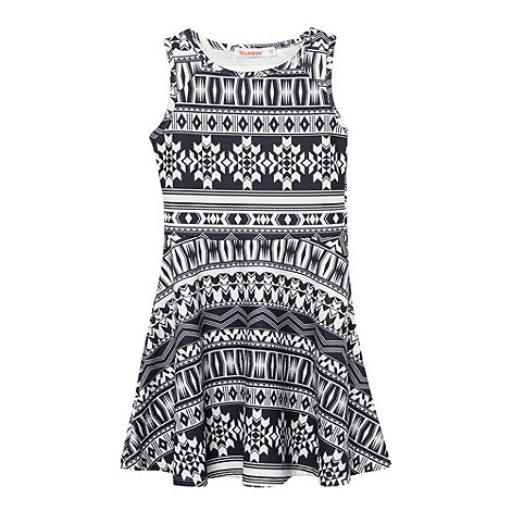 bluezoo - Girl+s sleeveless black aztec skater dress