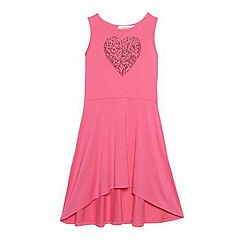 bluezoo - Girl's pink animal heart jersey dress