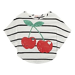 bluezoo - Girl's cream striped and cherry printed top