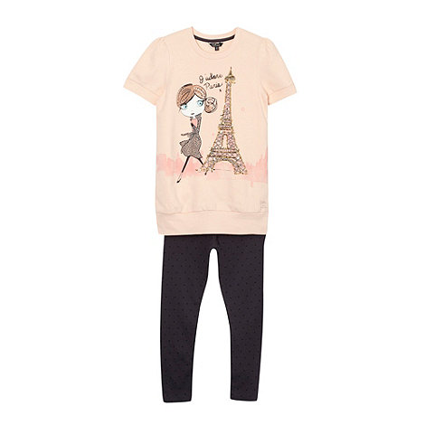 Star by Julien Macdonald - Designer girl+s peach Eiffel tower sweat top and leggings set